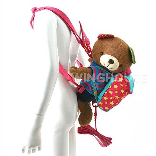WINGHOUSE(ウイングハウス)Bubble Mu バブルミュー 肩紐取り外しOK クマ ぬいぐるみ スター キッズ ベビー リュックサック 迷子防止紐 付 ( ピンク )