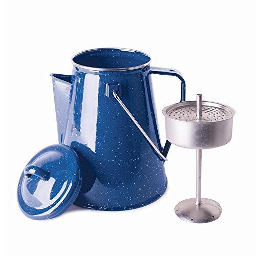 Stansport 8 Cup Percolator Enamel Coffee Pot with Basket