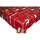 Christmas Red Noel PVC Wipe Clean Tablecloth by Karina Home 200 x 140cm