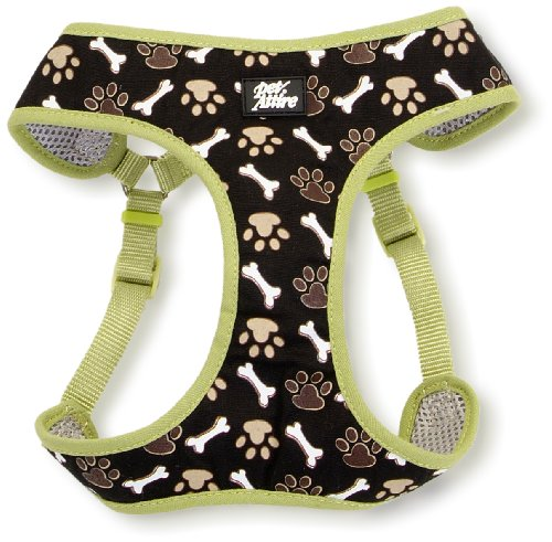 Pet Attire Designer Step-In Harness Brown Paws And Bones, Extra Extra Small, 14 To 16-Inch