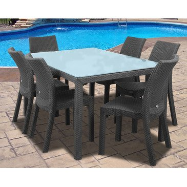 The Simple Stores Portia 7-Piece Rectangular Wicker Patio Dining Set in Grey - Take 25% OFF Today!
