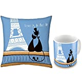 Valentine Gifts For Boyfriend Girlfriend Blue Paris Couple Love Is In The Air 12X12 Printed Filled Cushion & Best...