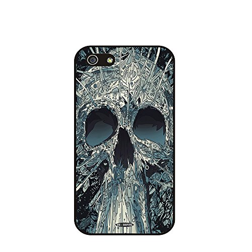 Dh-Hoping (Tm) Cell Phone Case For Personalizatied Custom Picture Iphone 5C Inch High Impackt Combo Soft Silicon Rubber Hybrid Hard Pc & Metal Aluminum Protective Case With Customizatied Skull Black Art Retro Style Luxurious Pattern (Skull-07)