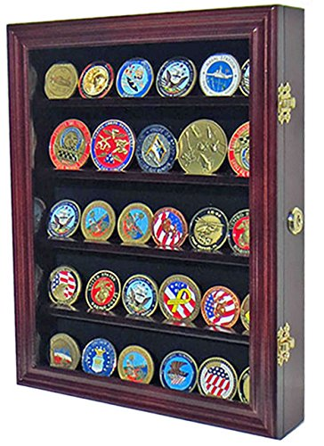 LOCKABLE 30 Military Challenge Coin, Sport Competition Coin, Poker Chip Display  Case Wall Mounted Cabinet, With Lock, COIN30 MAH