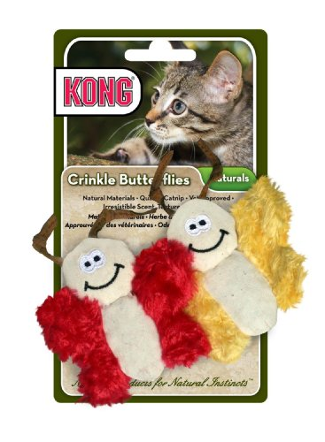 KONG Naturals Crinkle Butterflies, Catnip Toy for Cats, Colors Vary