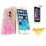 Se7enline for 4.7 inch iPhone 6 [3 in 1 Bundle] Hard Case+ 2 piece HD Clear Screen Protectors+Soft Clean Cloth, Fashion Style Handmade 3D bling Rhinestone Crystal Case Rhinestone Diamond pink butterfly princess dress pattern Design PC Cover Case for iPhone 6