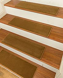 NaturalAreaRugs Austin Carpet Stair Treads with Peel and Stick Strips Rug (Set of 13), 9-inch x 29-inch