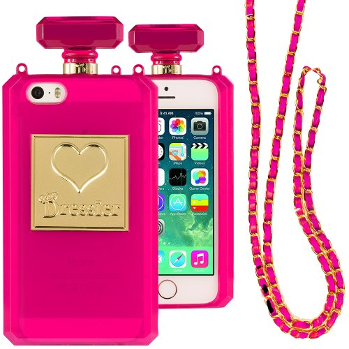 Dressier 5S Perfume Bottle Case With Chain For Iphone 5/5S - Clear Hot Pink