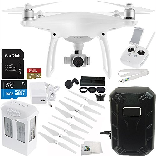 DJI Phantom 4 Quadcopter Drone with Manufacturer Accessories + SanDisk Extreme 32GB microSDHC Memory Card + 7PC Filter Kit (UV-CPL-ND2-400-Lens Hood-Case) + Hardshell Backpack for DJI Phantom 4 + MORE