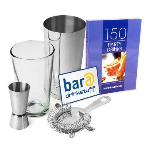 Basic Cocktail Shaker Set  Cocktail Book by bar@drinkstuff