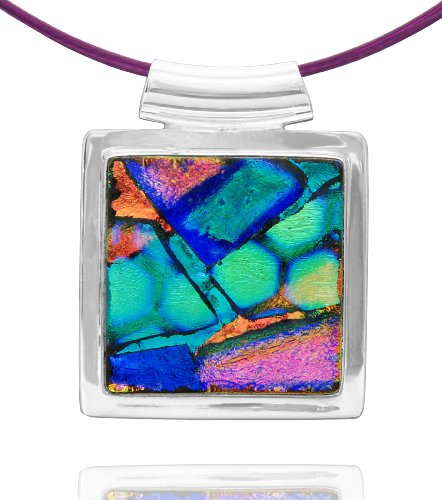 Sterling Silver Dichroic Glass Bezel-Set Blue and Pink Square-Shaped Pendant Necklace on Stainless Steel Wire, 18