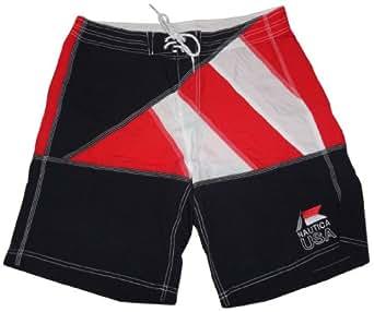 Nautica Men's USA Swim Trunks Boardshorts Red/White/Blue (36)