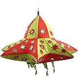 Rose Applique Cotton Star Lantern (52 Cm X 14 Cm X 40 Cm, Red & Green)