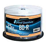 Optical Quantum OQBDR06WIP-H-50 6X 25GB BD-R White Inkjet Printable Single Layer Blu-Ray Recordable Media 50-Disc Spindle
