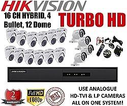 Combo Kit Of Hikvision 16 Ch Triple Hybrid Turbo Hd Dvr + 4 Bullet + 12 Dome (Ds-7216Hghi-E1, Ds-2Ce16C2T-Ir, Ds-2Ce56C2T-Irb)