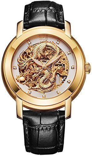Angela Bos del dragón chino de la manera de los hombres está muy dentro de la mecánica de reloj resistente al agua esfera de color blanco y negro de la banda de piel de becerro