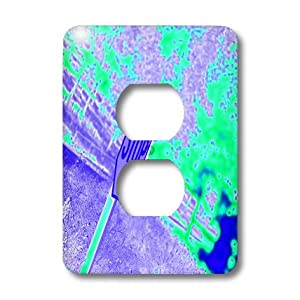 3dRose  lsp_79943_6 A Stop Sign In Neon Aqua and Purple On A Street Corner 2 Plug Outlet Cover