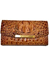 Brahmin Fashion Wallet Toasted Almond Embossed Leather Clutch