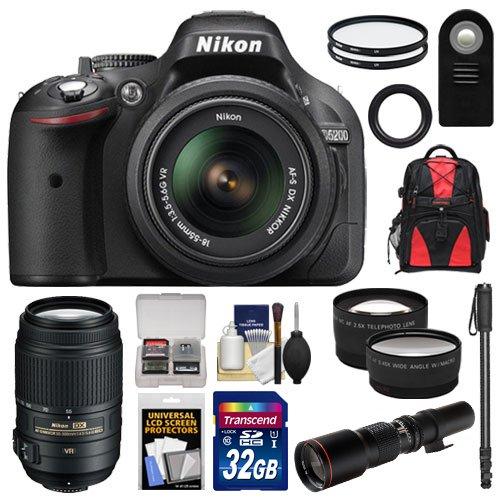 Nikon D5200 Digital Slr Camera & 18-55Mm G Vr Dx Af-S Zoom Lens (Black) With 55-300Mm Vr + 500Mm Telephoto Lens + 32Gb Card + Backpack + Tele/Wide Lenses + Monopod + Accessory Kit