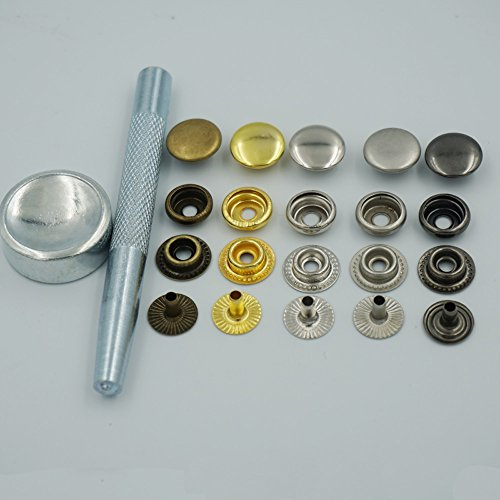 """Bluemoona Metal Snap Fastener Leather Rapid Rivet Button Setting Tool 15mm 5/8"""" Sewing Sewn Buckle 100 Sets (Mixed)"""
