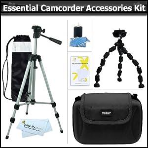 """Essential Accessory Kit For Canon VIXIA HF R52, HF R50, HF R500, HF R600, HF G10, HF R60, HF R62, HF M52, HF M50, HF M500, HF R32, HF R30, HF R300, Canon Vixia Mini Includes 50"""" Tripod + Compact Hard Shell Case + 7"""" Flexible Tripod + More"""
