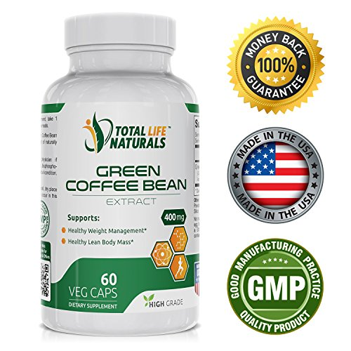 Pure Green Coffee Bean Extract Pills with 50% Chlorogenic Acid per Vegetarian Capsule | Natural Weight Loss Support for Men and Women | Made in the USA by Total Life Naturals (Green Coffee Bean Vegetarian compare prices)