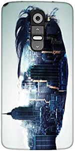 Snoogg City In A Mans Face 2604 Designer Protective Back Case Cover For LG G2