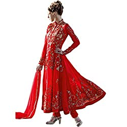Latest Wize Marvelous Red Georgette Embroidered Dress Material