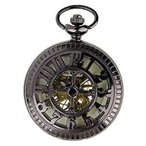 PACIFISTOR Steampunk Pocket Watch Pendant Half Hunter - Antiqued Black Lume With Gift Box #PX-013-B