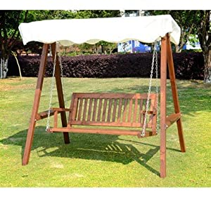2 seater swinging hammock garden chair patio swinging bench chair swing seat in cream Wooden swing seats garden furniture