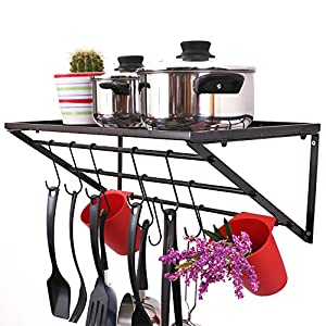 ZESPROKA Kitchen Wall Pot Pan Rack,Pot Rack,Black