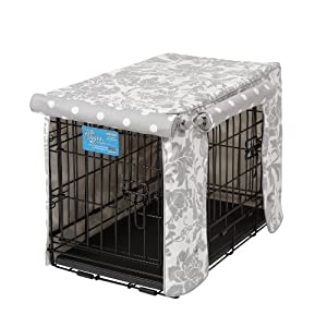 Crate Covers and More Double Door 22 Pet Crate Cover, Marbella Storm with Grey Polka Dot