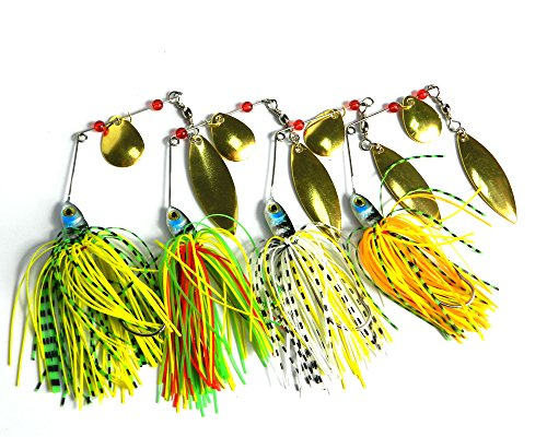 Hengjia 8pcs/lot Buzzbait Spinner lead head fishing Bait Fishing Lures with Holographic Painted Blades for Bass Trout Pike fishing tackles 17.4g
