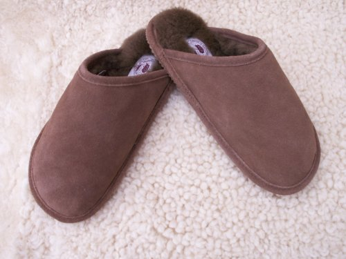 Mens Sheepskin Backless Slipper (UK SIZE 12, Beige)