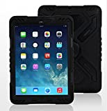 Hot Newest Ipad 2/3/4 Case Silicone Plastic Kid Proof Extreme Duty Dual Protective Back Cover with Kickstand and Sticker for Ipad 4/3/2 - Rainproof Sandproof Dust-proof Shockproof (BLACK)