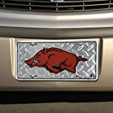 Arkansas Razorbacks Diamond Metal License Plate