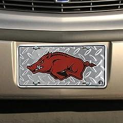 Buy Arkansas Razorbacks Diamond Metal License Plate by RowdyFan
