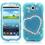 Turquoise Heart Rhinestone Bling Hard Case Cover for Samsung Galaxy S3 III i9300,i747