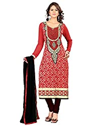 Lookslady Party Wear Red Embroidered Brasso dress material