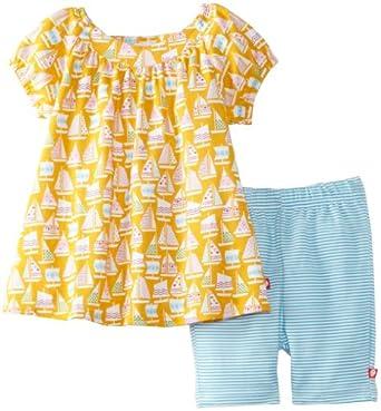 Zutano Little Girls' Toddler Riviera Short Sleeve Viola Top and Bike Short Set, Multi, 3T