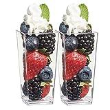 Zappy Elegant Tall Square Mini Cube 3oz Clear Plastic Tasting / Sample Shot Glasses Parfait / Souffle Jello Dessert Tumbler Cups 40 Ct