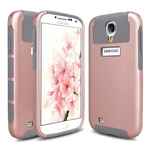 Hinpia Slim Fit Hybrid Dual Layer Bumper Case for Samsung Galaxy S4 - Rose Gold / Gray (S4 Bumper Case compare prices)