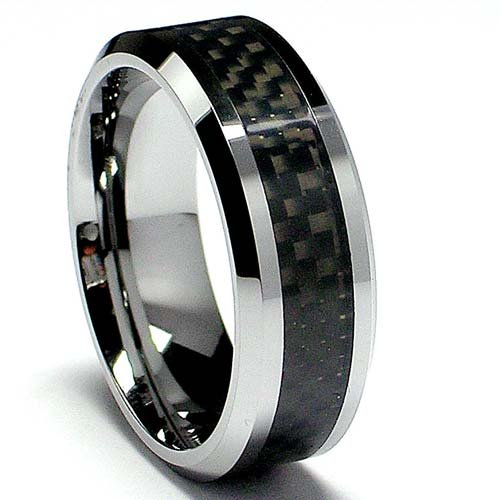 8MM Mens Tungsten Carbide Ring Wedding Band W/ Carbon Fiber Inaly sizes 5 to 15