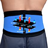 BACK SUPPORT BELT - Unique New Hi-Tech Fabric Offers Non-Sweat Comfort. (Sky Blue MED) Can be worn directly on skin safely without rash. Broad fitting wraparound front closure belt and additional DUAL TENSION CONTROL side-closures offer easy loosening fo