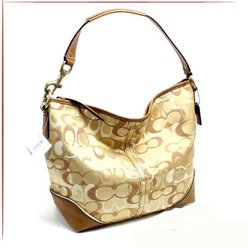 Coach Optic Signature Sarah Shoulder Khaki Doe Bag 15667