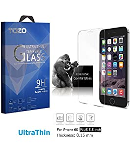 iPhone 6S Plus Screen Protector Glass, TOZO [0.15mm] Ultrathin [Corning Gorilla] Premium Tempered Glass [3D Touch Compatible] 9H Hardness 2.5D Edge [Super Clear] Screen [Lifetime Warranty] 0.15mm by TOZO
