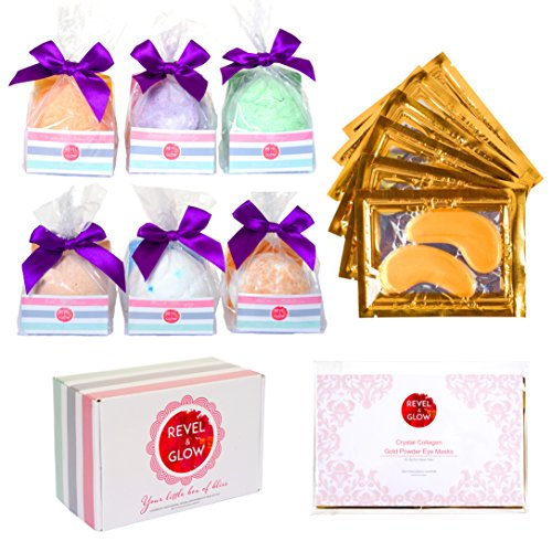6 Large Bath Bombs Gift Set - 6 Anti-Wrinkle Eye Masks for Puffy Eyes/Dark Circles - 4.4oz USA Made No Stain Fizzies - Lush Natural Relaxation Gifts for Women, Mom, Birthday, Bridesmaids