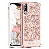 iPhone X Case BENTOBEN Glitter Slim Shockproof Detachable Hard Cover Case for iPhone X Rose Gold