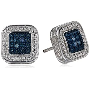 Sterling Silver Blue Diamond Square Stud Earrings