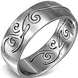 Stainless Steel Spiral Vine Half Round Band Ring - Size U R368